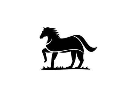 Horse Silhouette vector logo walking on the grass