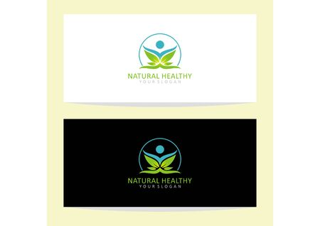 Vector human logo and leaf symbol of fitness and health Иллюстрация