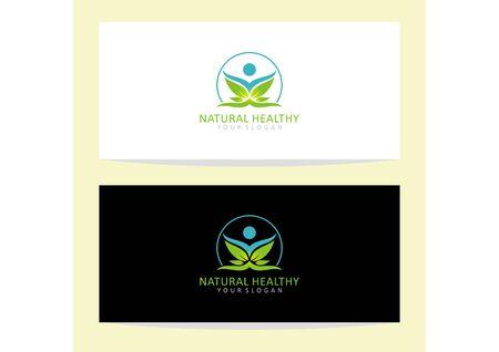 Vector human logo and leaf symbol of fitness and health Ilustração