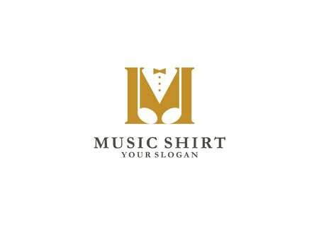 The initial M initial vector logo is combined with the tone symbol and the shirt on the negative side