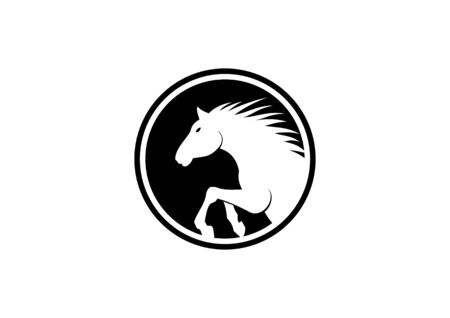 Vintage silhouette logo of a horses head in a circle