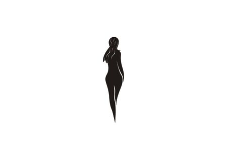 vector silhouette of woman posing