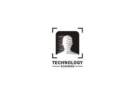 Vector logo visualization of scanning or detecting someones ID Ilustração