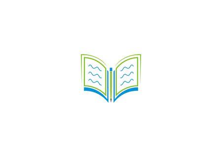 Minimalist book and pencil logos Ilustração