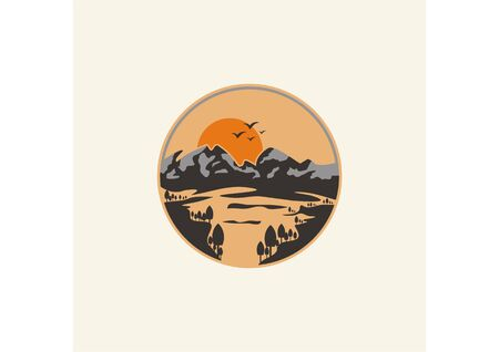 Vector minimalist view of the sun rising from the hill and beach
