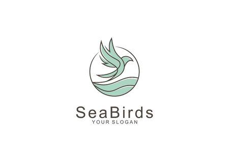 Vector logo of a bird line flying over the sea