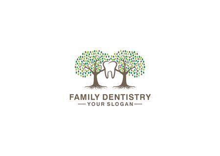 Vector logo of a family tree and teeth