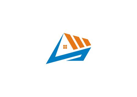 Vector logo of house construction symbol with the initials S