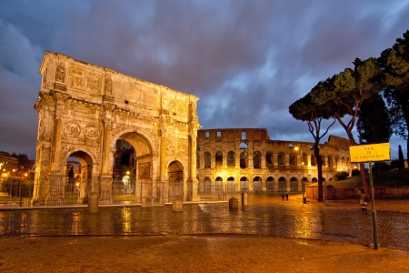 Colosseum and Arch Stock Photo - 17525609