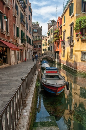 small canal from beautiful venetian cityscape photo