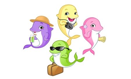 Travel Dolphin Mascot Cartoon Vector Illustration Illustration
