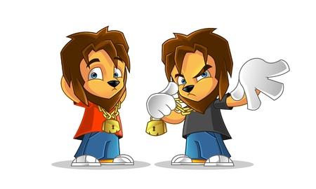 rapero: Rapper Lion Mascot Cartoon Vector Illustration Vectores