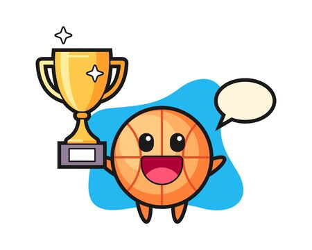 Basketball cartoon happy holding up the golden trophy Vectores