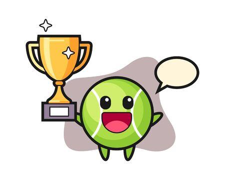 Tennis cartoon happy holding up the golden trophy Vectores