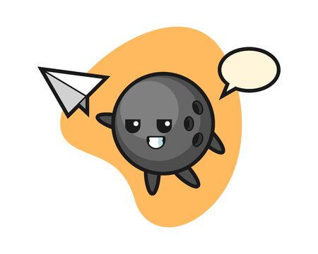 Bowling ball cartoon throwing paper airplane Stock Illustratie