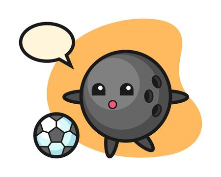Bowling ball cartoon is playing soccer Stock Illustratie