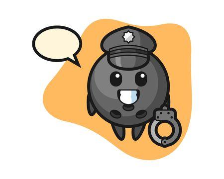 Bowling ball cartoon as a police