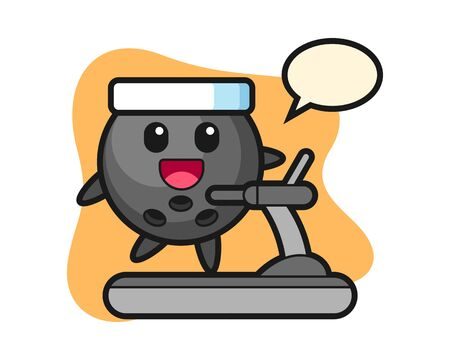 Bowling ball cartoon walking on the treadmill