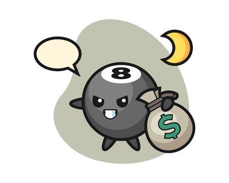 Eight ball billiard cartoon stolen the money, cute style mascot character for t shirt, sticker design, element