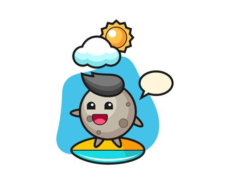 Moon cartoon do surfing on the beach, cute style mascot character for t shirt, sticker design, element