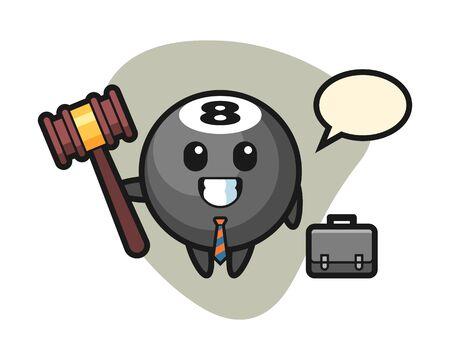 Eight ball billiard cartoon as a lawyer, cute style mascot character for t shirt, sticker design, element