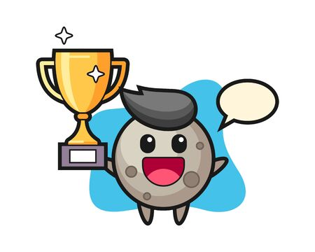Moon cartoon happy holding up the golden trophy, cute style mascot character for t shirt, sticker design,  element
