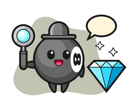 Eight ball billiard cartoon with a diamond, cute style mascot character for t shirt, sticker design, element