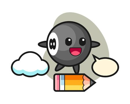 Eight ball billiard cartoon riding on a giant pencil, cute style mascot character for t shirt, sticker design,  element