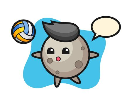 Moon cartoon is playing volleyball, cute style mascot character for t shirt, sticker design,  element