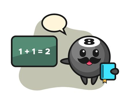 Eight ball billiard cartoon as a teacher, cute style mascot character for t shirt, sticker design,  element