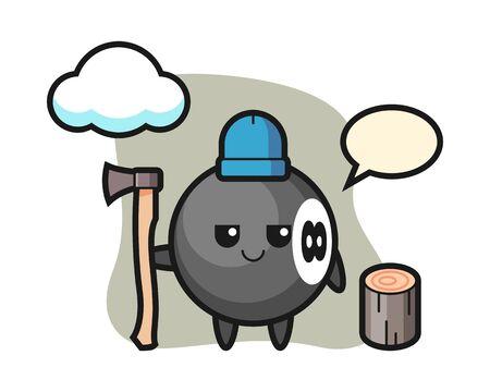Eight ball billiard cartoon as a woodcutter, cute style mascot character for t shirt, sticker design, element