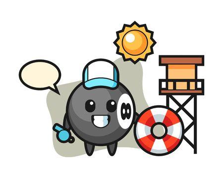 Eight ball billiard cartoon as a beach guard, cute style mascot character for t shirt, sticker design, element