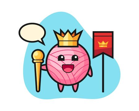 Yarn ball cartoon as a king, cute style mascot character for t shirt, sticker design, element