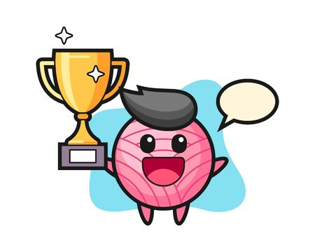 Yarn ball cartoon happy holding up the golden trophy, cute style mascot character Vectores