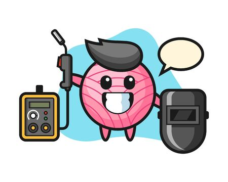 Yarn ball cartoon as a welder, cute style mascot character