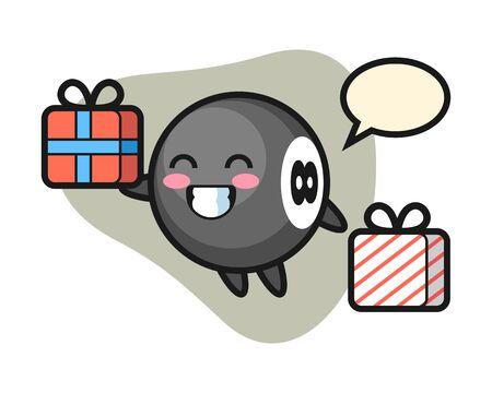 Eight ball billiard cartoon giving the gift, cute style mascot character