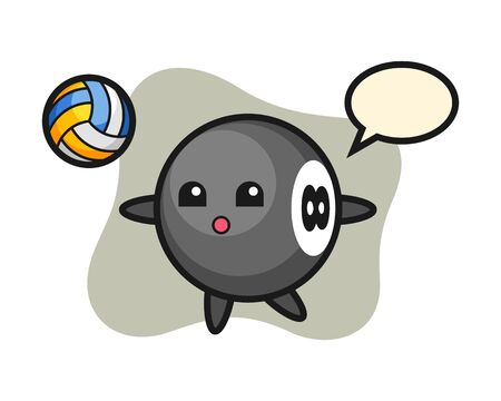 Eight ball billiard cartoon is playing volleyball, cute style mascot character