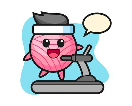 Yarn ball cartoon walking on the treadmill, cute style mascot character Illusztráció