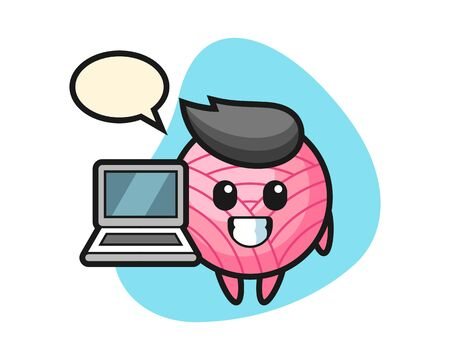 Yarn ball cartoon with a laptop, cute style mascot character