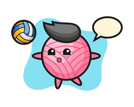 Yarn ball cartoon is playing volleyball, cute style mascot character