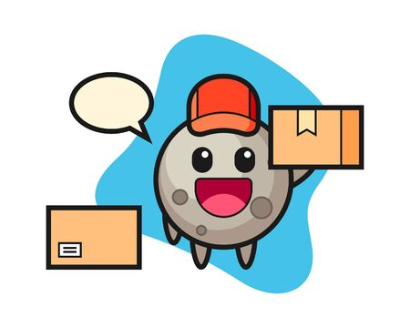 Moon cartoon as a courier, cute style mascot character