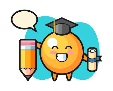 table tennis ball cartoon graduation with a giant pencil, cute style mascot character for t shirt, sticker design, logo element