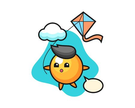 table tennis ball cartoon is playing kite, cute style mascot character for t shirt, sticker design, logo element