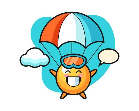 table tennis ball cartoon is skydiving with happy gesture, cute style mascot character for t shirt, sticker design, logo element Illustration