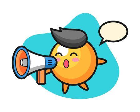 table tennis ball cartoon holding a megaphone, cute style mascot character for t shirt, sticker design,   element