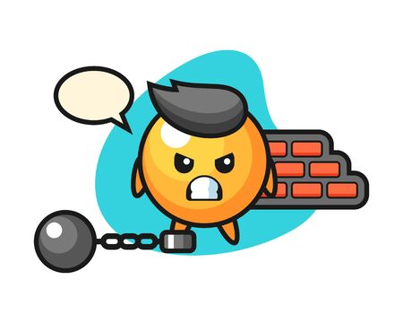 table tennis ball cartoon as a prisoner, cute style mascot character for t shirt, sticker design Illustration