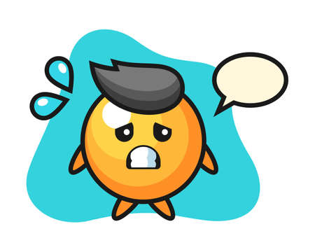 table tennis ball cartoon with afraid gesture, cute style mascot character