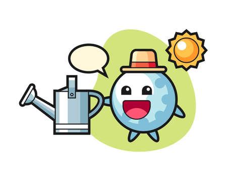 Golf cartoon holding watering can, cute style mascot character for t shirt, sticker design, logo element Ilustração