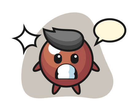Chocolate ball cartoon with shocked gesture, cute style mascot character for t shirt, sticker design, logo element