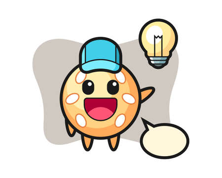 Sesame ball cartoon getting the idea, cute style mascot character for t shirt, sticker design, logo element Ilustração